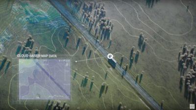 I-See-Analyse cloudbasierter Kartendaten zur Topographie der Straße.