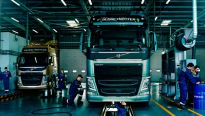 Volvo trucks services servicing contracts workshop pit