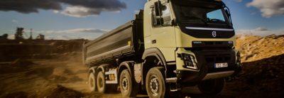 Volvo FMX steerable multi axles truck dirty road