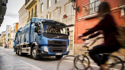 Volvo FE chassis cyclist blue truck
