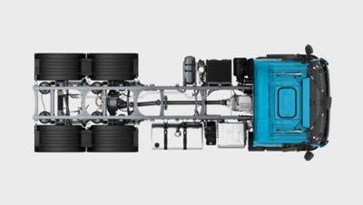 Chassiet till Volvo FE – underlättar påbyggnadsarbetet