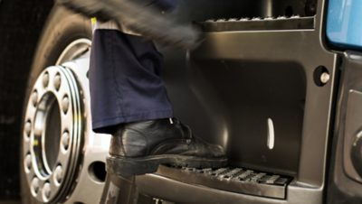 The Volvo FE entry steps features a slip-free coating