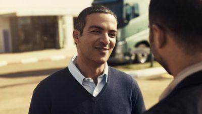 Volvo FE fuel efficiency two men talk