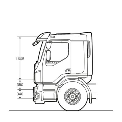 Volvo FE:n lepo-ohjaamo, jossa on vuode lisävarusteena