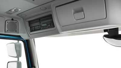 Volvo FE with two storage units above the windscreen