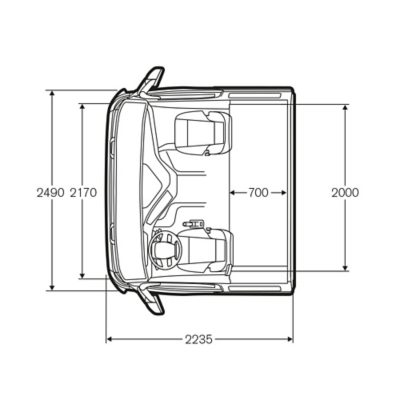 Cabina dormitorio del Volvo FM con medidas