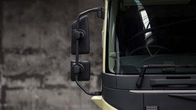Modern Volvo FMX mirror design improves visibility.