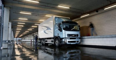 A Volvo Truck unloading