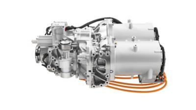 A linha motriz é composta por dois motores elétricos e uma caixa de 2 velocidades