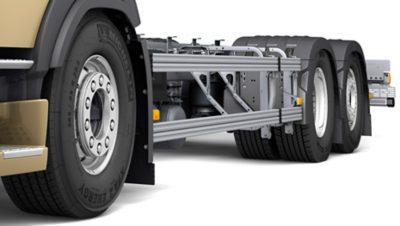 ระบบป้องกันการมุดใต้ท้องรถด้านข้างและด้านหลังของ Volvo FM