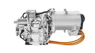 Hnací ústrojí se skládá zelektromotoru advourychlostní převodovky